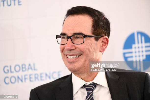 Former US Secretary of the Treasury Steven Mnuchin speaks during the Milken Institute Global Conference on October 19, 2021 in Beverly Hills,...