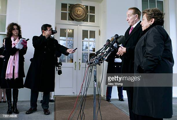 Former US Sen Bob Dole and former Secretary of Health and Human Services Donna Shalala speak to the media after their meeting with President George W...