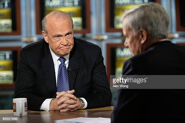Former US Sen Fred Thompson a supporter of Republican presidential nominee Sen John McCain pauses as he is interviewed by moderator Tom Brokaw during...