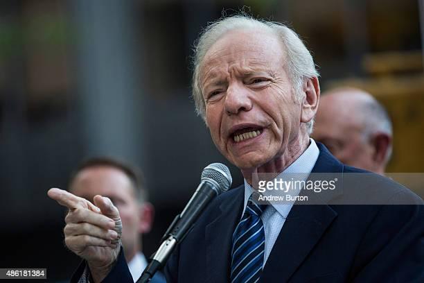 Former US Sen Joe Lieberman speaks at a 'Stop Iran Rally' regarding the Iran nuclear deal on September 1 2015 in New York City Congress has until...