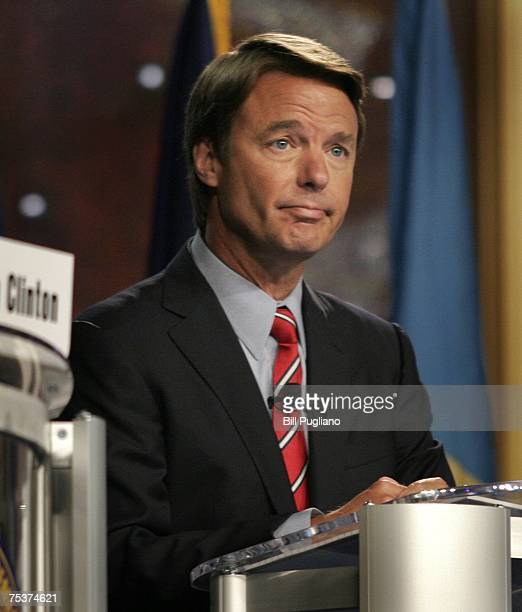Former US Sen John Edwards of North Carolina attends a presidential candidates forum hosted by the NAACP at the 98th Annual NAACP National Convention...