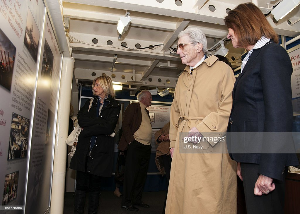 Former U.S. Sen. John Warner, his wife, Jeanne, and guests tour the Hampton Roads Naval Museum and the Battleship Wisconsin on March 15, 2013 in Norforlk, Virginia.. Warner is attending the keel laying ceremony for the Virginia-class attack submarine Pre-Commissioning Unit (PCU) John Warner (SSN 785). Warner has served as an undersecretary of the Navy, a U.S. senator, a Marine Corps officer during the Korean War and as a Navy petty officer in World War II. PCU John Warner is under construction at Newport News Shipbuilding.