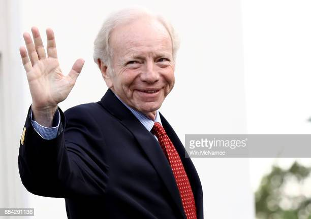 Former US Sen Joseph Lieberman departs the White House after meeting with US President Donald Trump May 17 2017 in Washington DC Trump is...