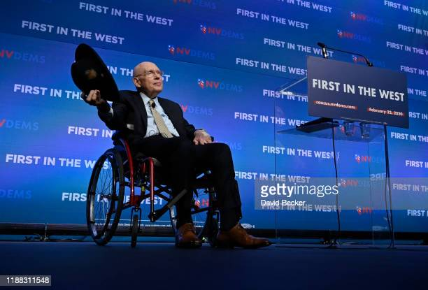 Former US Senate Majority Leader Harry Reid acknowledges the audience during the Nevada Democrats' First in the West event at Bellagio Resort Casino...