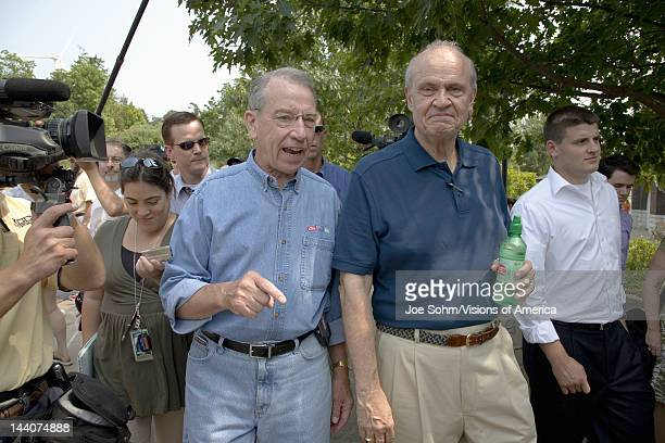 Former US Senator and actor of Law Order Fred Thompson meeting US Senator from Iowa Republican Chuck Grassley at Iowa State Fair to campaign for US...