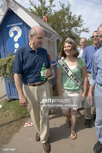 Former US Senator and actor of Law Order Fred Thompson walking with Miss Pork and US Senator from Iowa Republican Chuck Grassley at Iowa State Fair...