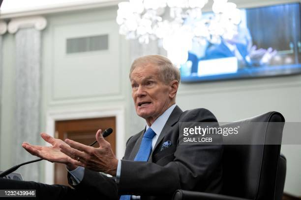 Former US Senator Bill Nelson, nominee to be administrator of NASA, testifies during a Senate Committee on Commerce, Science, and Transportation...