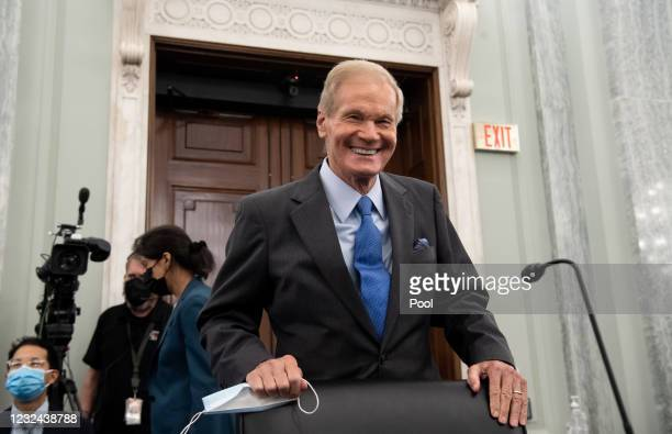 Former US Senator Bill Nelson, nominee to be administrator of NASA, arrives at a Senate Committee on Commerce, Science, and Transportation...