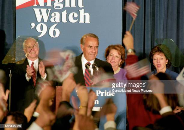 Former US Senator Bob Dole speaks to supporters after conceding the Presidential Election during an election night party at the Renaissance Hotel,...