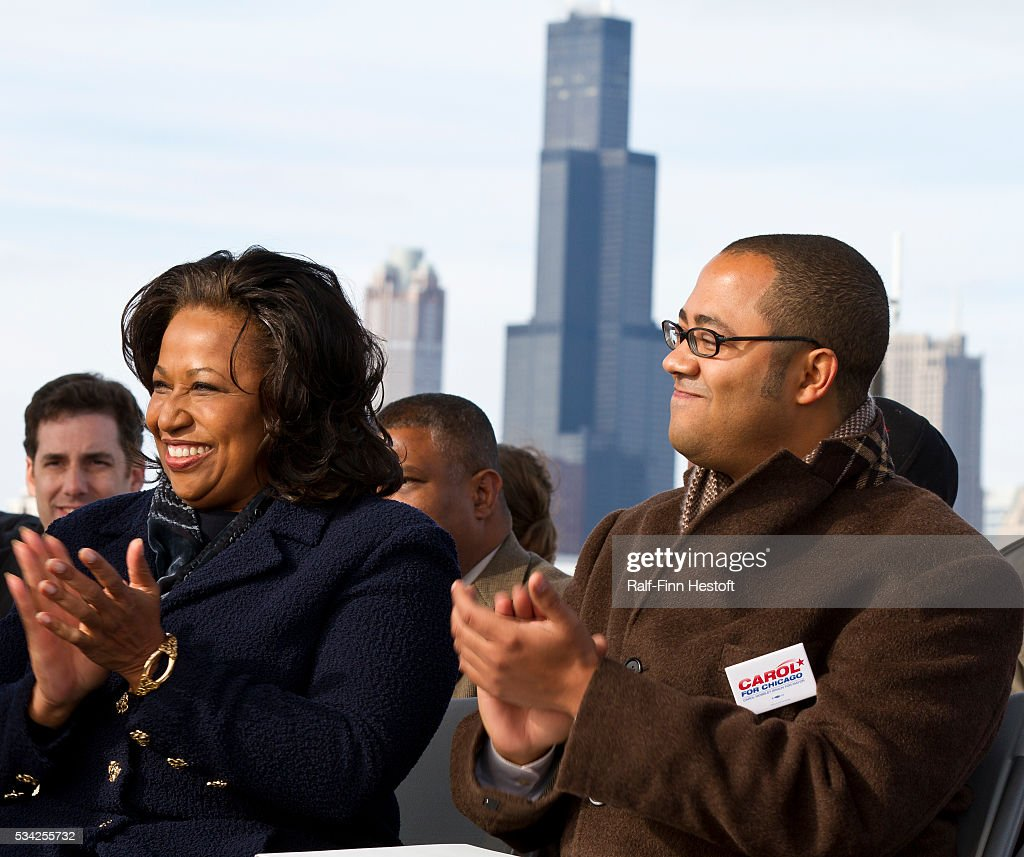 Former US Senator Carol Moseley Braun with her son Matt as she announces her candidacy for Mayor of Chicago at a rally on the city's lakefront.