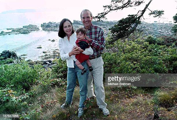 Former US Senator George J. Mitchell with his wife Heather and son Andrew at their vacation home in Seal Harbor, Maine, 5th October 1998.