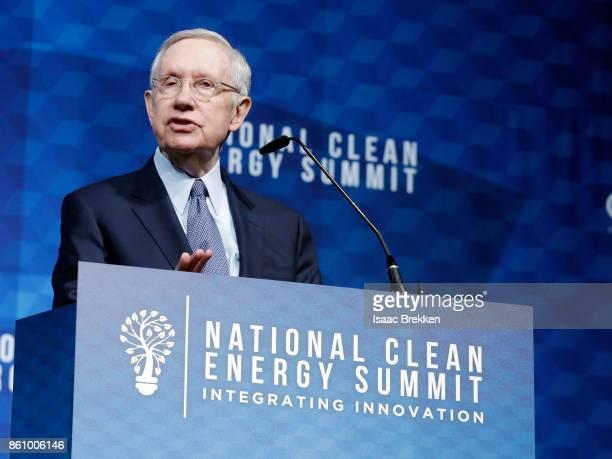 Former US Senator Harry Reid speaks during the National Clean Energy Summit 90 on October 13 2017 in Las Vegas Nevada