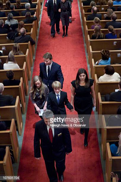 Former US Senator John Edwards daughter Emma Claire Edwards left son Jack Edwards center and oldest daughter Cate Edwards right leave the sanctuary...