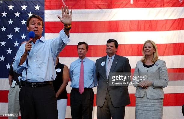 Former US Senator John Edwards speaks at a rally for US Senate nominee Ned Lamont at Yale University School of Medicine August 17 2006 in New Haven...