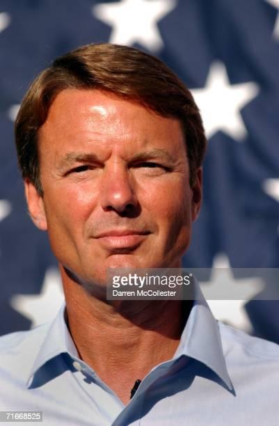 Former US Senator John Edwards waits to speak at a rally for democratic US Senate nominee Ned Lamont August 17 2006 at Yale University School of...