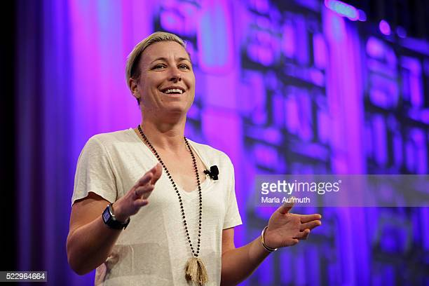 Former US Soccer forward Abby Wambach addresses the audience at the Watermark Conference For Women 2016 Silicon Valley at the San Jose Convention...