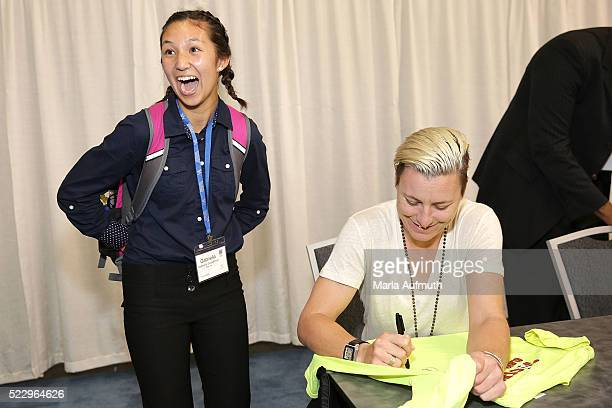Former US Soccer forward Abby Wambach greets fans at the Watermark Conference For Women 2016 Silicon Valley at the San Jose Convention Center on...