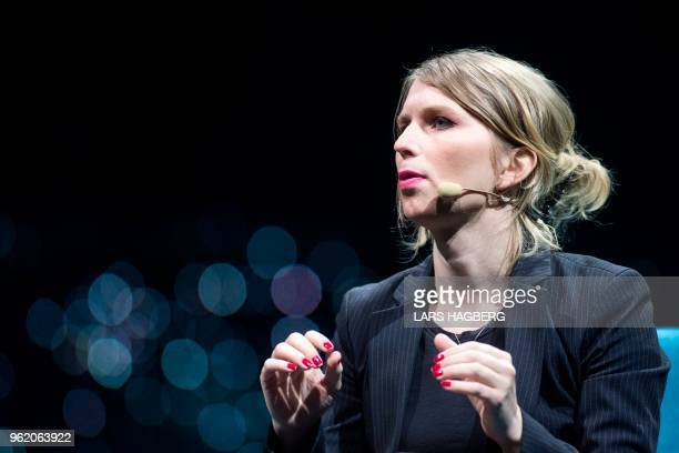 Former US soldier Chelsea Manning speaks during the C2 conference in Montreal Quebec on May 24 2018