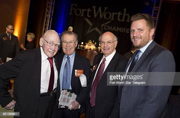 Former US Speaker of the House Jim Wright left poses with Dee Kelly Pete Geren and Joel Burns at a breakfast designed to recreate the day President...