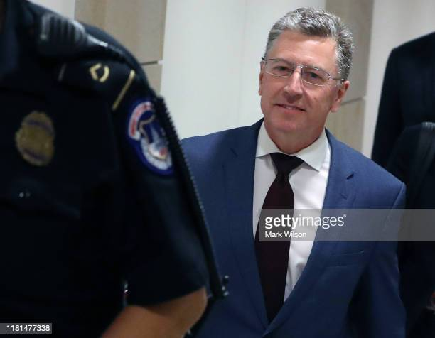 Former US Special Envoy for UkraineKurt Volker walks away after attending a closed door meeting for the second time at the US Capitol October 16...