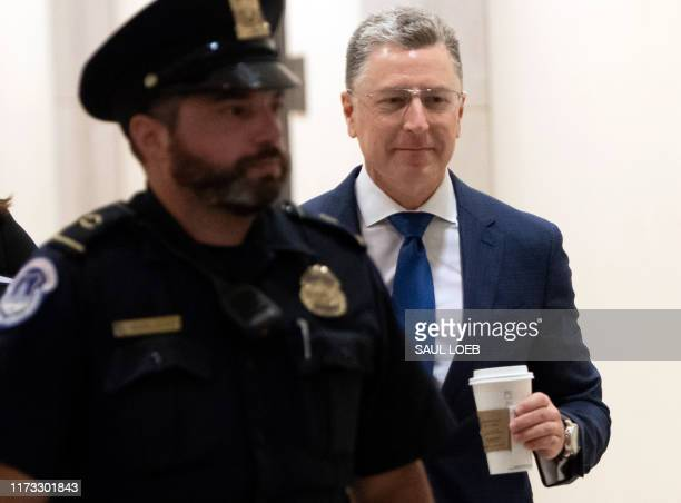 Former US Special Representative to Ukraine Kurt Volker arrives for a deposition with the House Intelligence Committee on Capitol Hill in Washington...