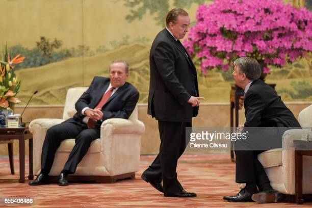 Former US Treasury secretary Lawrence Summers CEO of HSBC Stuart Gulliver and CEO of Royal Dutch Shell Plc Ben van Beurden attend to the meeting with...