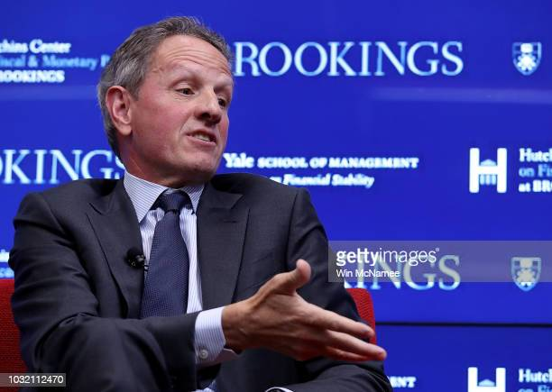 Former US Treasury Secretary Timothy Geithner answers questions during a conference with former Federal Reserve Board Chairman Ben Bernanke and...