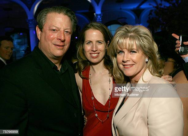 Former US Vice President Al daughter Kristin Gore and wife Tipper Gore attend Warner Music Group's 2007 Grammy Party held at The Cathedral on...