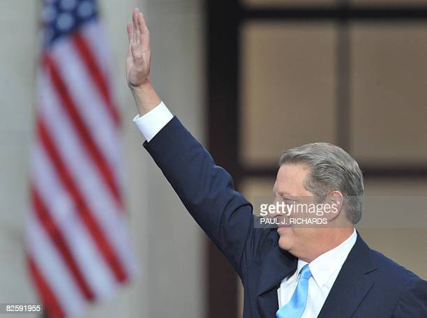 Former US Vice President Al Gore acknowledges the crowd at the Democratic National Convention 2008 at the Invesco Field in Denver Colorado on August...