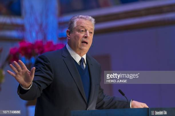 Former US Vice President Al Gore and 2007 Nobel Peace Prize winner speaks at the Nobel Peace Prize Forum on December 11 2018 / Norway OUT