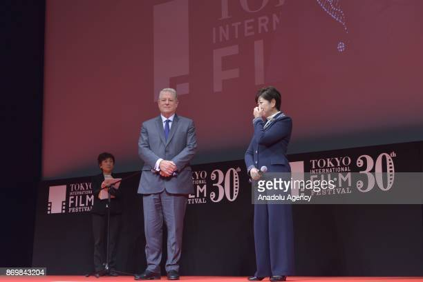 Former US Vice President Al Gore and Tokyo Governor Yuriko Koike attend the closing ceremony of the 30th Tokyo International Film Festival 2017 on...