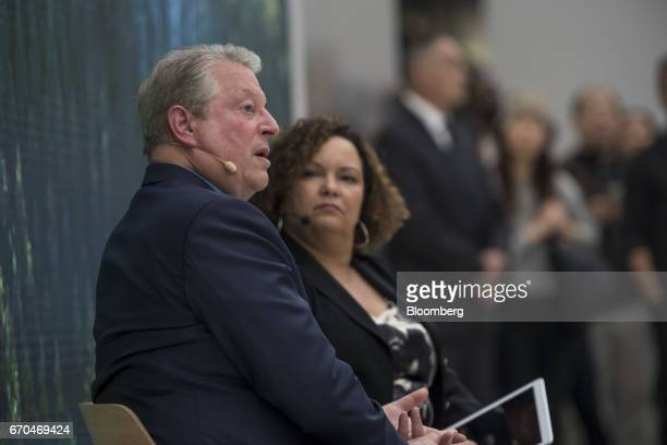 Former US Vice President Al Gore chairman and president of Generation Investment Management LLP left speaks as Lisa Jackson vice president of...