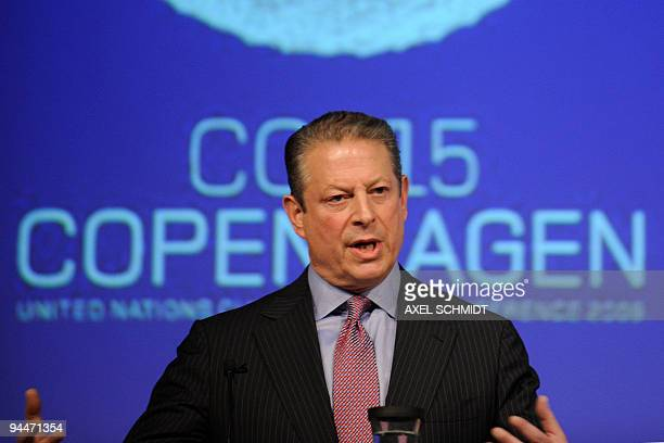 Former US Vice President Al Gore delivers a speech at the Bella Centre during the United Nations Climate Change Conference in Copenhagen on December...