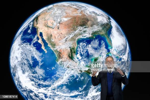 TOPSHOT Former US vice president Al Gore delivers a speech at the World Economic Forum annual meeting on January 22 2019 in Davos eastern Switzerland
