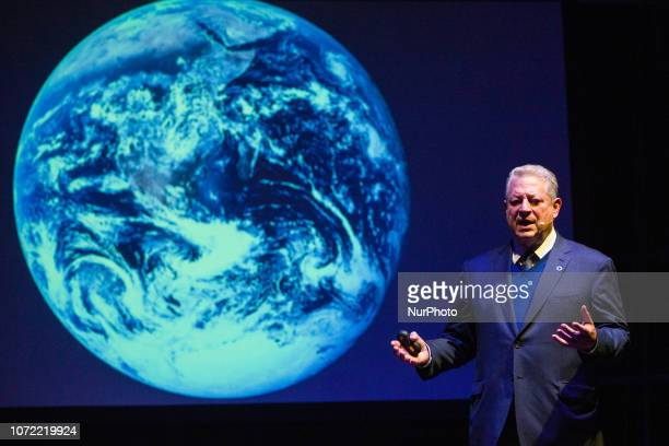Former US Vice President Al Gore gives a lecture at Greenpeace 'Green Talks' meeting during COP 24 the 24th Conference of the Parties to the United...