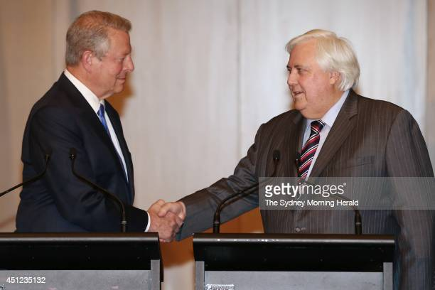Former US Vice President Al Gore joins leader of the Palmer United Party Clive Palmer in a press conference at Parliament House on June 25 2014 in...