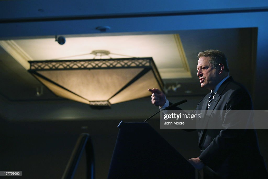Former U.S. Vice President Al Gore speaks before introducing New York City Mayor Michael Bloomberg for an address on long-term challenges facing the city following Superstorm Sandy on December 6, 2012 in New York City. They spoke in front of the Regional Plan Association and the New York League of Conservation Voters in downtown New York City.