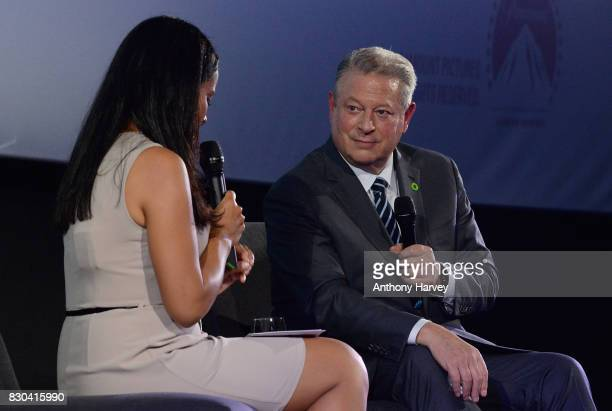 Former US Vice President Al Gore speaks on stage with host Liz Bonnin during a QA for the film An Inconvenient Sequel Truth To Power at the...
