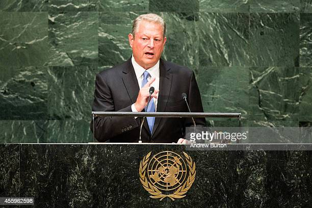 Former US Vice President and climate change activist Al Gore speaks at the United Nations Climate Summit on September 23 2014 in New York City The...