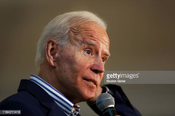 Former U.S. Vice President and current presidential candidate Joe Biden speaks to potential voters on the Dartmouth College campus in Hanover, NH...