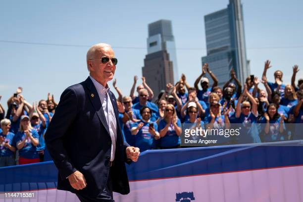 Former U.S. Vice President and Democratic presidential candidate Joe Biden arrives for a campaign kickoff rally, May 18, 2019 in Philadelphia,...