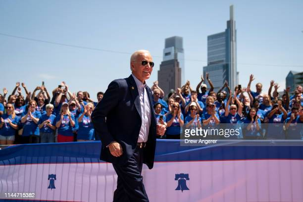Former US Vice President and Democratic presidential candidate Joe Biden arrives for a campaign kickoff rally May 18 2019 in Philadelphia...