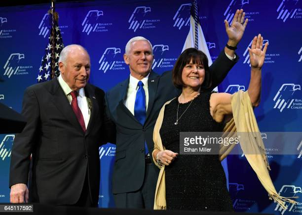 Former U.S. Vice President Dick Cheney introduces U.S. Vice President Mike Pence and his wife Karen Pence at the Republican Jewish Coalition's annual...