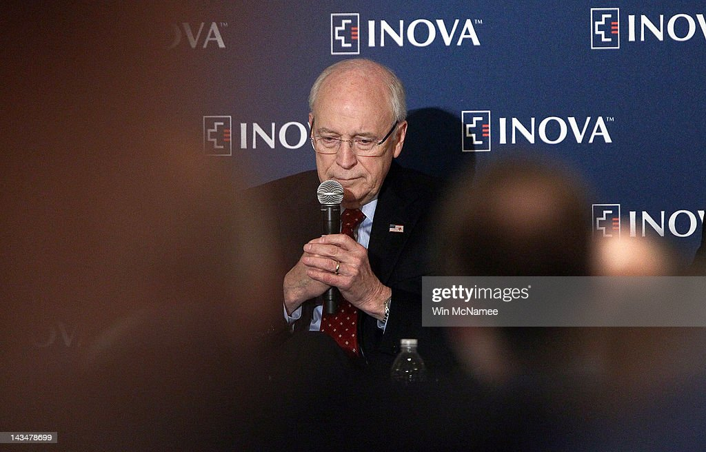 Former U.S. Vice President Dick Cheney speaks at the Inova Heart and Vascular Institute Cardiovascular Symposium April 27, 2012 in McLean, Virginia. Cheney discussed his recent heart transplant during his remarks to the symposium.