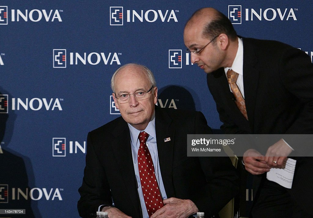 Former U.S. Vice President Dick Cheney (L) speaks with Dr. Shashank Desai at the Inova Heart and Vascular Institute Cardiovascular Symposium April 27, 2012 in McLean, Virginia. Cheney discussed his recent heart transplant during his remarks to the symposium.