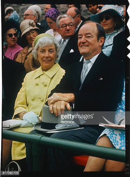 Former US Vice President Hubert H Humphrey and Muriel attend investiture of Great Britain's Prince Charles as Prince of Wales at Caernarvon Castle