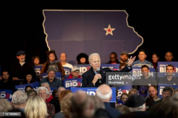 Former U.S. Vice President Joe Biden, 2020 Democratic presidential candidate, center, speaks during a campaign event in Waterloo, Iowa, U.S., on...