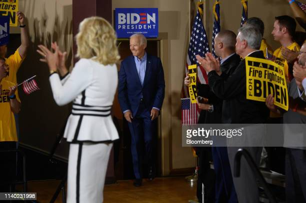 Former US Vice President Joe Biden 2020 Democratic presidential candidate arrives at the Teamsters Local 249 hall during a campaign stop in...