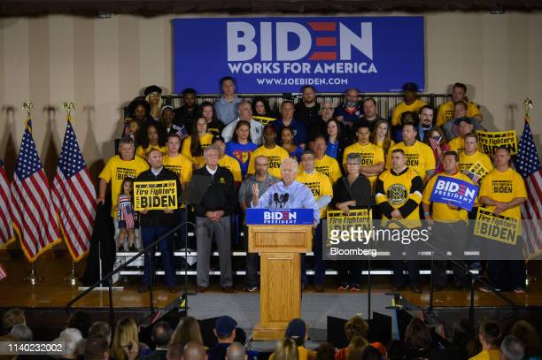 Former US Vice President Joe Biden 2020 Democratic presidential candidate speaks at the Teamsters Local 249 hall during a campaign stop in Pittsburgh...