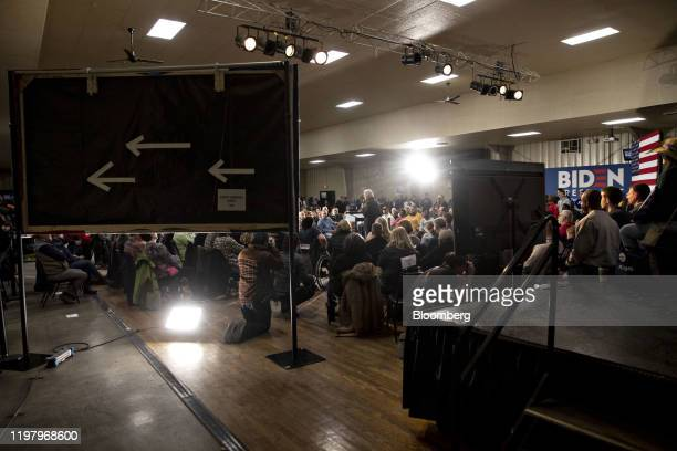 Former U.S. Vice President Joe Biden, 2020 Democratic presidential candidate, far center, speaks during a campaign event in Waterloo, Iowa, U.S., on...